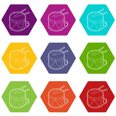 Toy drum icons 9 set coloful isolated on white for web