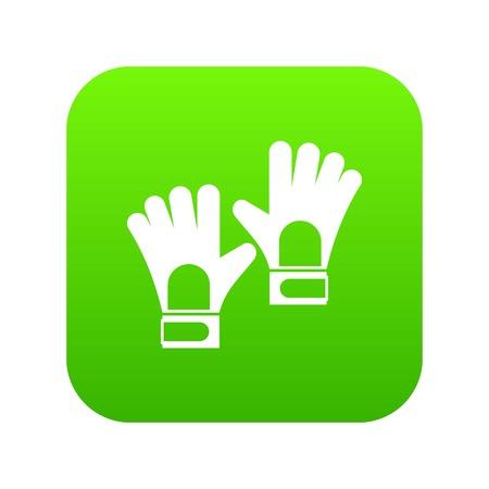 Gloves of goalkeeper icon digital green for any design isolated on white vector illustration Ilustração