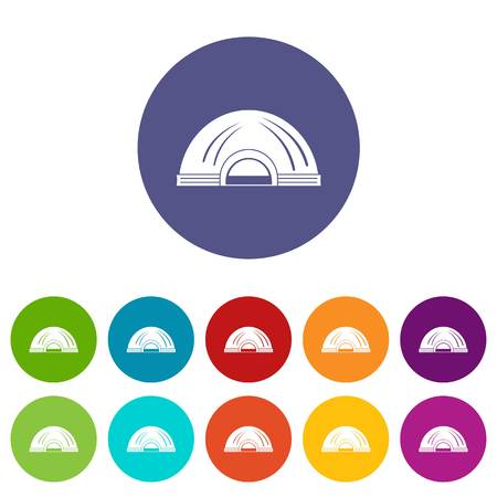 Aboriginal dwelling icons set vector color