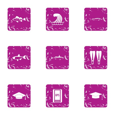 School of the sea icons set. Grunge set of 9 school of the sea vector icons for web isolated on white background