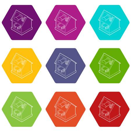 Toy house icons set 9 vector