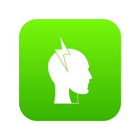 Lightning bolt inside head icon digital green for any design isolated on white vector illustration