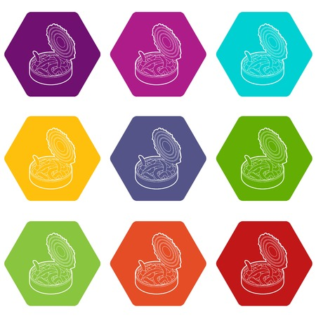 Tin of earthworms icons 9 set coloful isolated on white for web