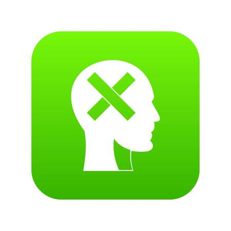 Human head with cross inside icon digital green for any design isolated on white vector illustration