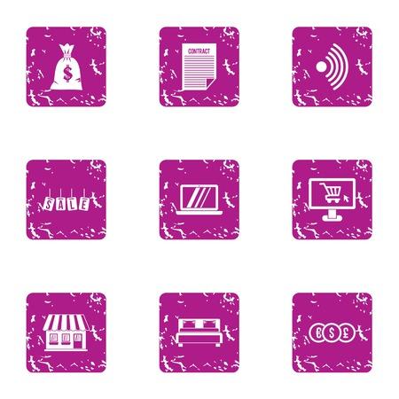 Cash bag icons set. Grunge set of 9 cash bag vector icons for web isolated on white background 일러스트
