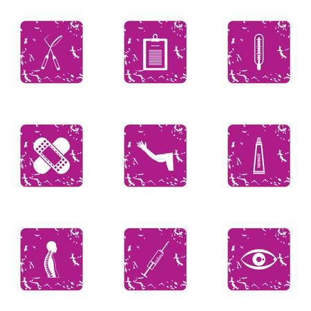 Practitioner icons set, grunge style Illustration