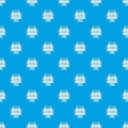 Wood board beer pub pattern vector seamless blue