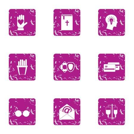 Brainwash icons set. Grunge set of 9 brainwash vector icons for web isolated on white background