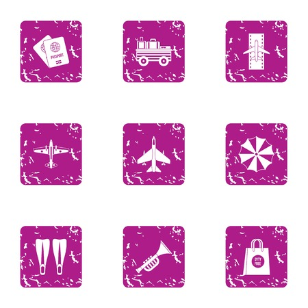 Air gate icons set. Grunge set of 9 air gate vector icons for web isolated on white background Иллюстрация