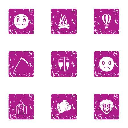 Indoctrination icons set. Grunge set of 9 indoctrination vector icons for web isolated on white background