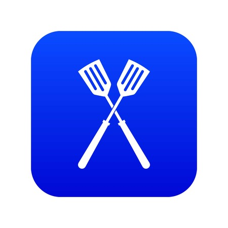 Two metal spatulas icon digital blue for any design isolated on white vector illustration
