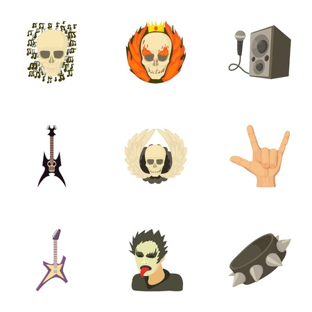 Rock riot icons set. Cartoon set of 9 rock riot vector icons for web isolated on white background