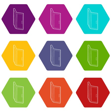 Door icons set 9 vector Ilustração