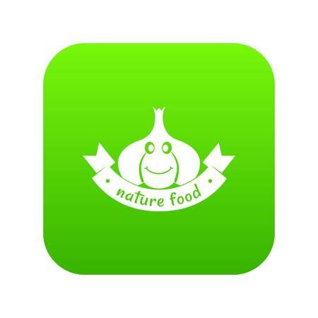 Garlic icon green vector