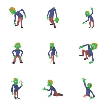 Inanimate icons set. Cartoon set of 9 inanimate vector icons for web isolated on white background
