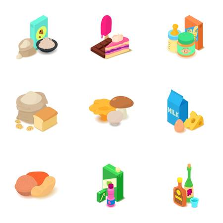 Component food icons set. Isometric set of 9 component food vector icons for web isolated on white background Çizim