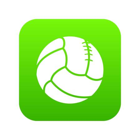 Retro volleyball icon green vector isolated on white background