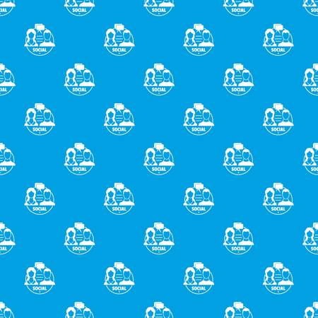 Social pattern vector seamless blue