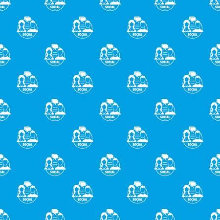 Social pattern vector seamless blue