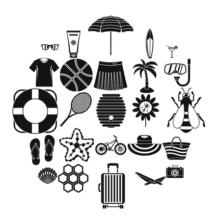 Summer things icons set, simple style Illustration