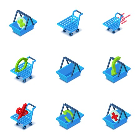 Online shopping cart icons set. Isometric set of 9 online shopping cart vector icons for web isolated on white background Stock Vector - 130236180