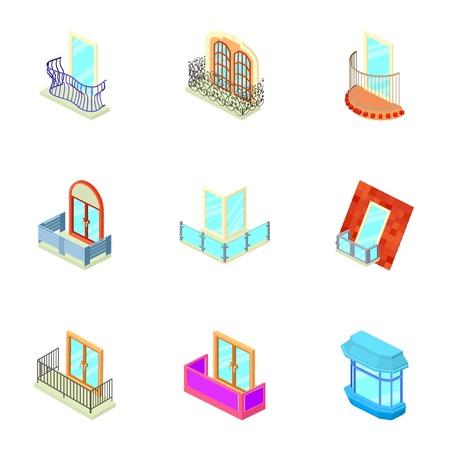 Loggia icons set, isometric style