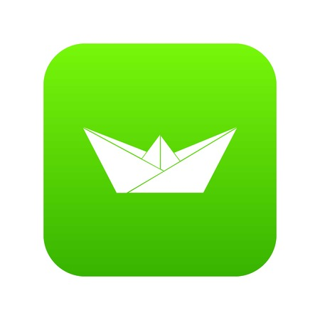 Origami boat icon green vector isolated on white background