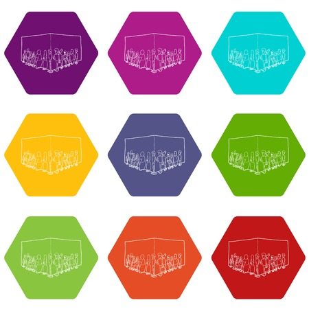 People queue icons 9 set coloful isolated on white for web