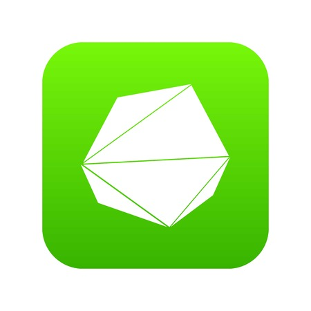 Origami stone icon green vector Illustration