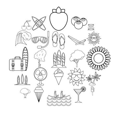 Summer season icons set, outline style Vetores