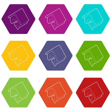 Location of the house icons 9 set coloful isolated on white for web Ilustração