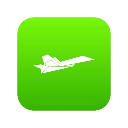 Origami airplane icon green vector isolated on white background Illustration