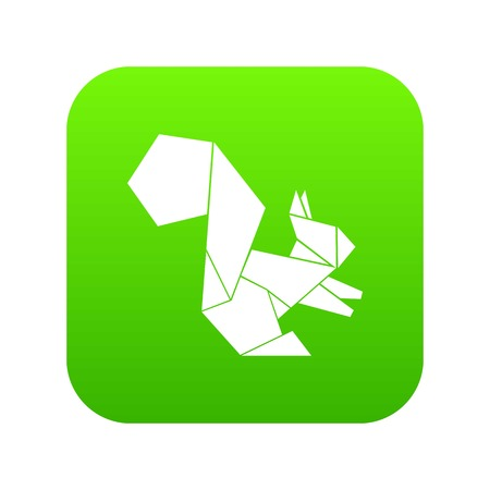 Origami squirrel icon green vector