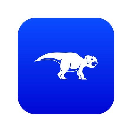 Ceratopsians dinosaur icon digital blue