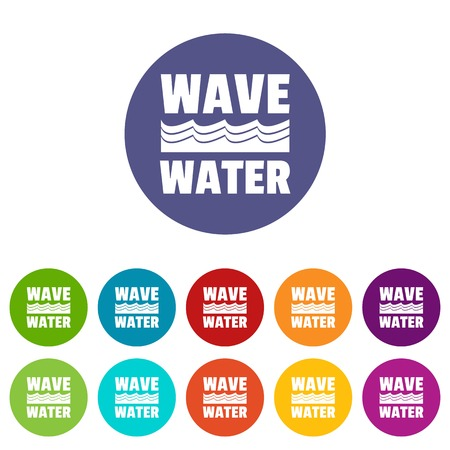 Wave water icons set vector color Illustration