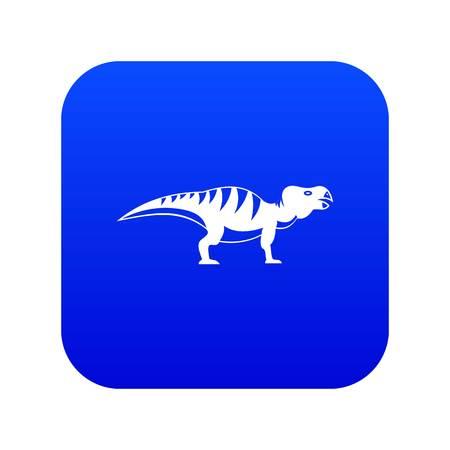 Hadrosaurid dinosaur icon digital blue