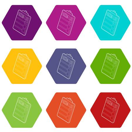 Clipboard with packing list icons 9 set coloful isolated on white for web
