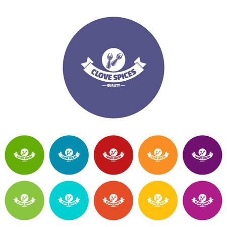 Clove spice icons set vector color 矢量图像
