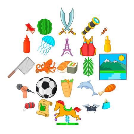 Aestival icons set, cartoon style