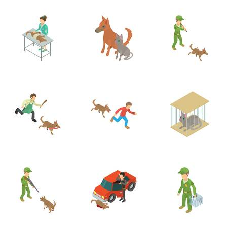 Dog protection icons set. Isometric set of 9 dog protection vector icons for web isolated on white background Illusztráció