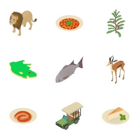 Safari icons set. Isometric set of 9 safari vector icons for web isolated on white background Ilustração