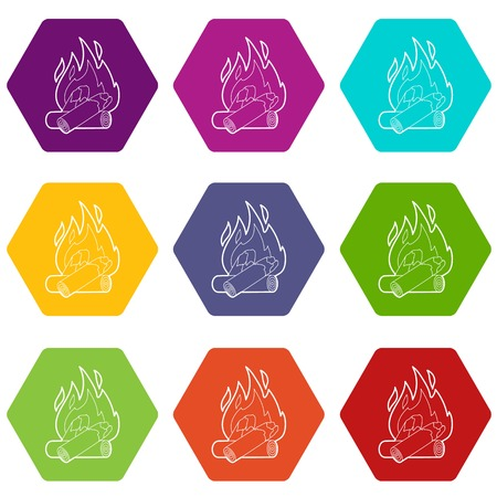 Campfire icons 9 set coloful isolated on white for web Ilustração