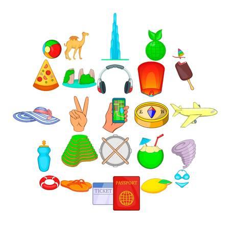 Estival icons set, cartoon style
