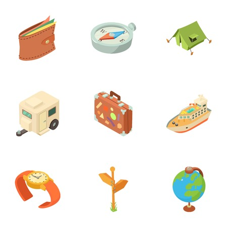 Planning a hike icons set. Isometric set of 9 planning a hike vector icons for web isolated on white background Çizim