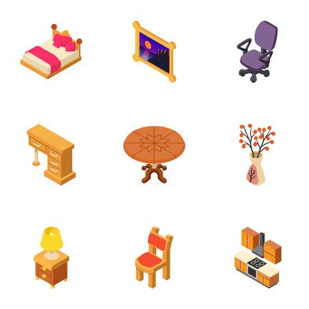 Parental bedroom icons set. Isometric set of 9 parental bedroom vector icons for web isolated on white background