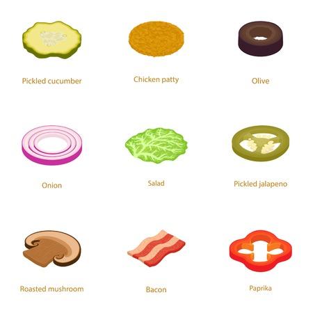 Hamburger steak icons set. Cartoon set of 9 hamburger steak vector icons for web isolated on white background Illustration
