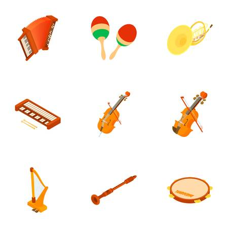 Classical music icons set. Isometric set of 9 classical music vector icons for web isolated on white background