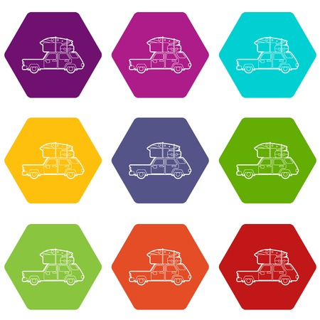 Hatchback car with roof rack top cargo luggage icons 9 set coloful isolated on white for web Ilustracja