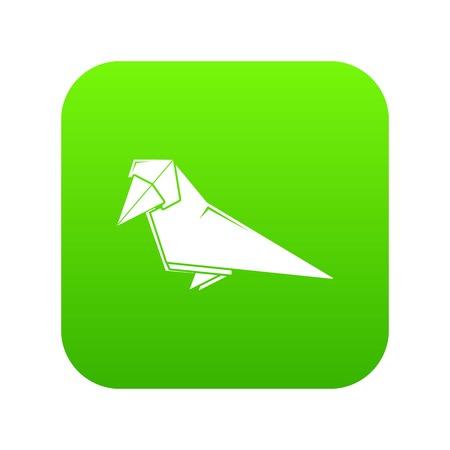Origami bird icon green vector