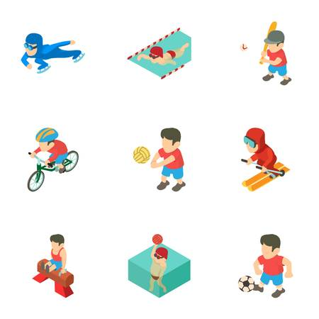 Prep icons set, isometric style